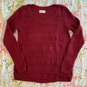 Hollister Dark Red Knit Sweater